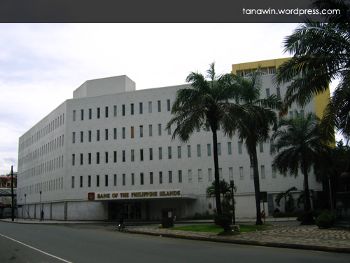 The Bank of the Philippine Islands building now occupies the site where the old Santo Domingo Church used to stand (Photo taken on September 27, 2008)